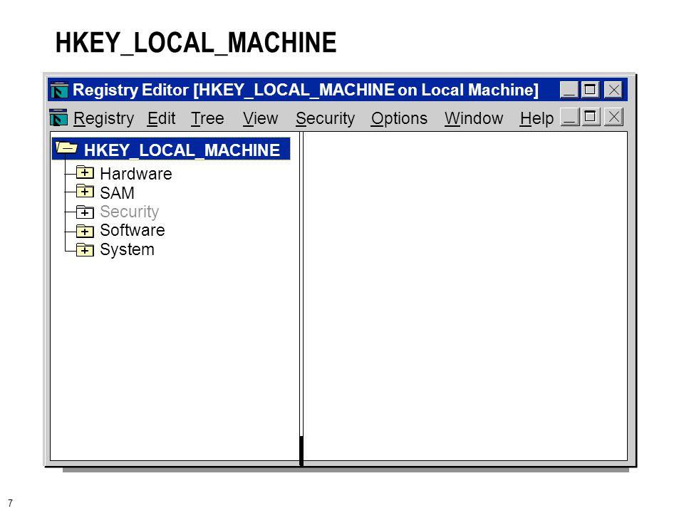 7 HKEY_LOCAL_MACHINE RegistryEditOptionsWindowHelpTreeViewSecurity Registry Editor [HKEY_LOCAL_MACHINE on Local Machine] Hardware SAM Security Software System HKEY_LOCAL_MACHINE