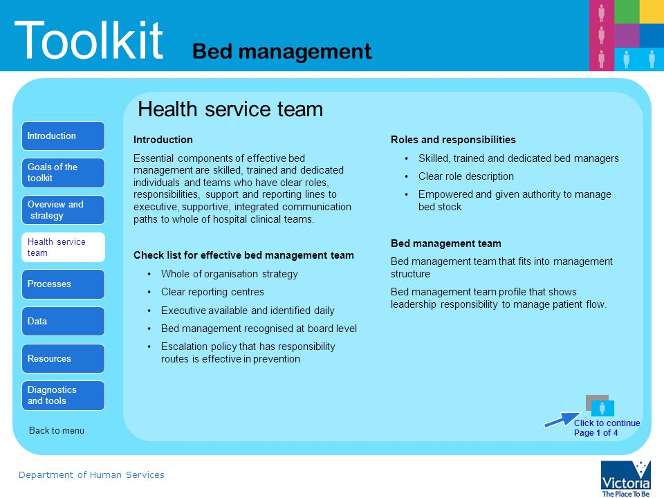 Toolkit Bed management Department of Human Services Health Service example Stories from the Bed alignment Strategy over Christmas Why Review of historic data showed an under utilisation of open bed stock/ theatres/ clinical support services over particularly the Christmas period despite adhoc reduction in some of these services.