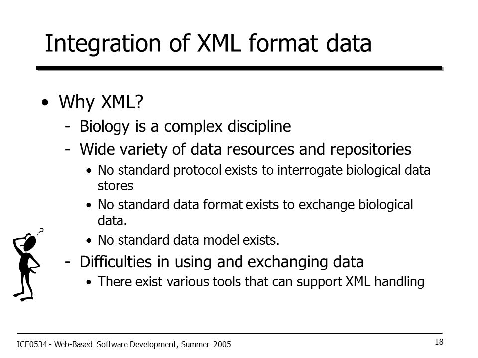ICE0534 - Web-Based Software Development, Summer 2005 18 Integration of XML format data Why XML.