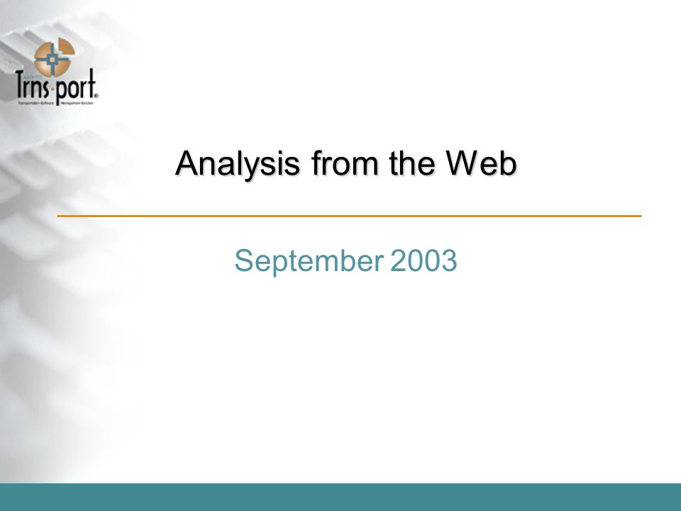 Analysis from the Web September 2003
