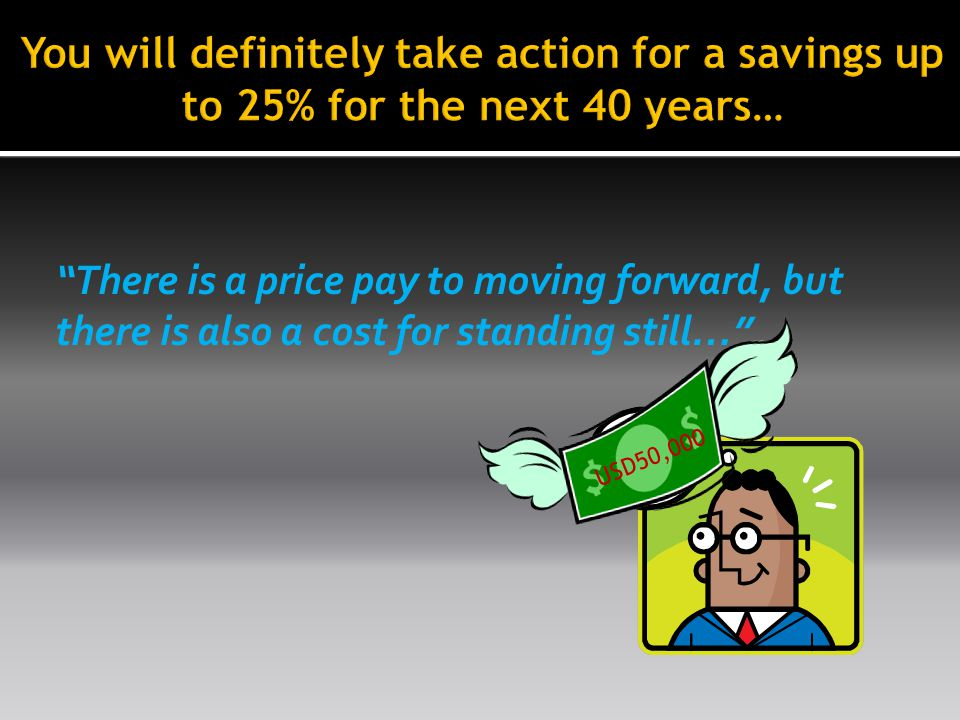 USD50,000 There is a price pay to moving forward, but there is also a cost for standing still…