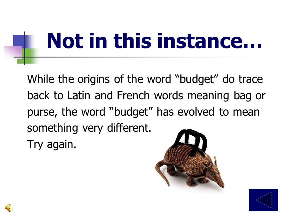 Not in this instance… While the origins of the word budget do trace back to Latin and French words meaning bag or purse, the word budget has evolved to mean something very different.
