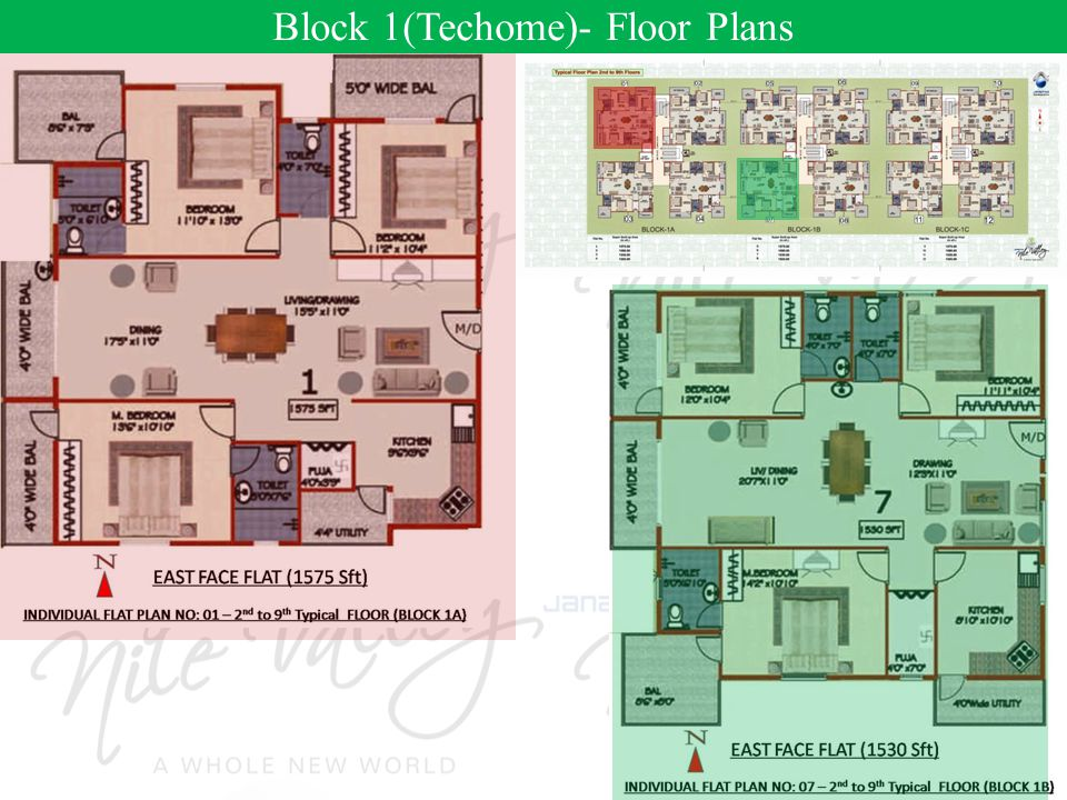 Block 1(Techome)- Floor Plans