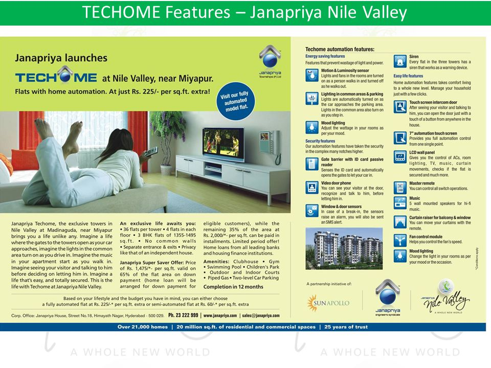 TECHOME Features – Janapriya Nile Valley