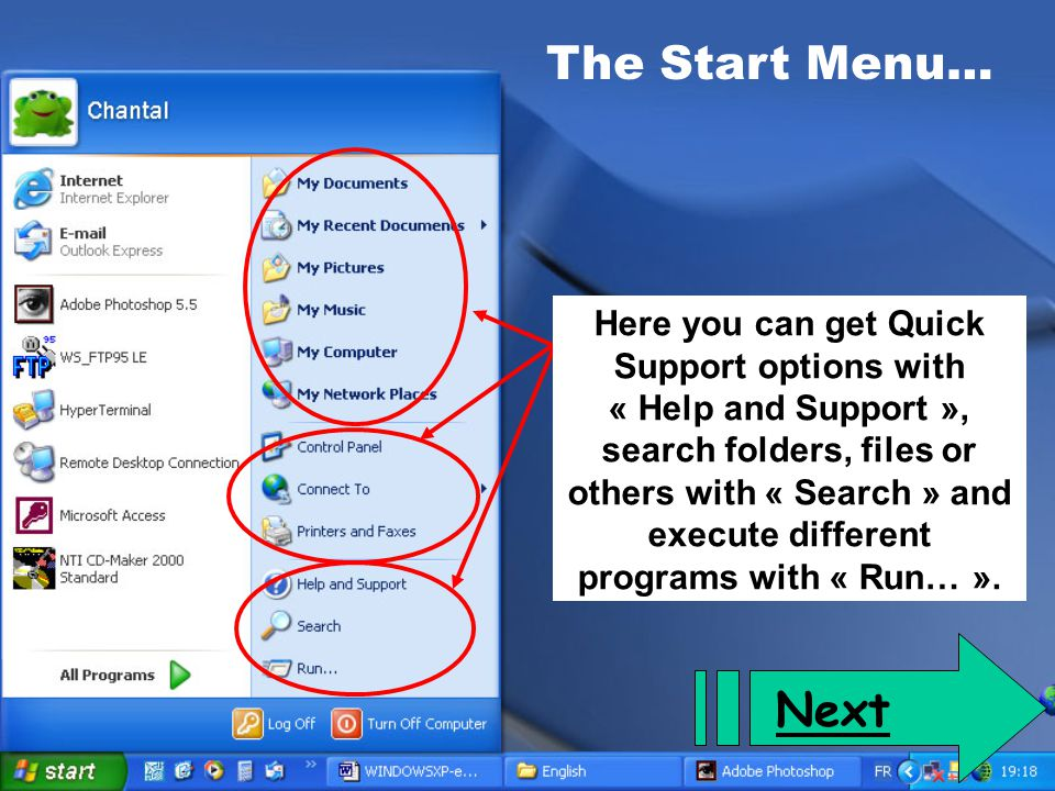 The Start Menu… Click here to display all the programs that are installed on your computer.