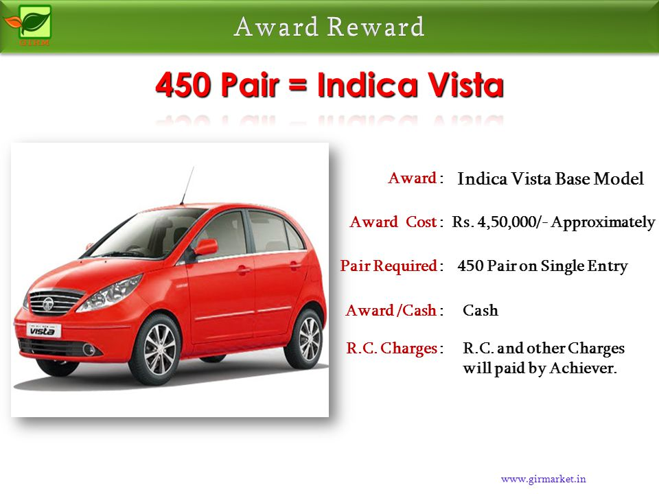 www.girmarket.in Alto Car Award : Rs. 2,25,000/- ApproximatelyAward Cost : 225 Pair on Single EntryPair Required : CashAward /Cash : R.C. and other Ch