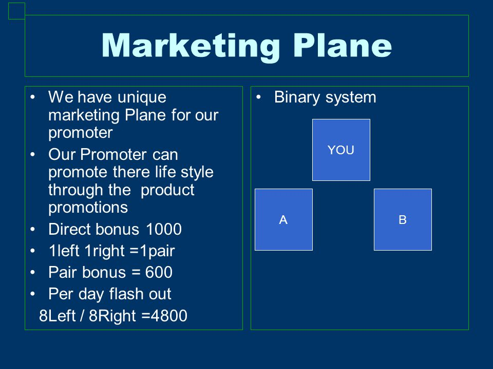 Marketing Plane We have unique marketing Plane for our promoter Our Promoter can promote there life style through the product promotions Direct bonus