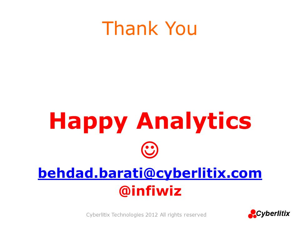 Thank You Happy Analytics behdad.barati@cyberlitix.com @infiwiz Cyberlitix Technologies 2012 All rights reserved