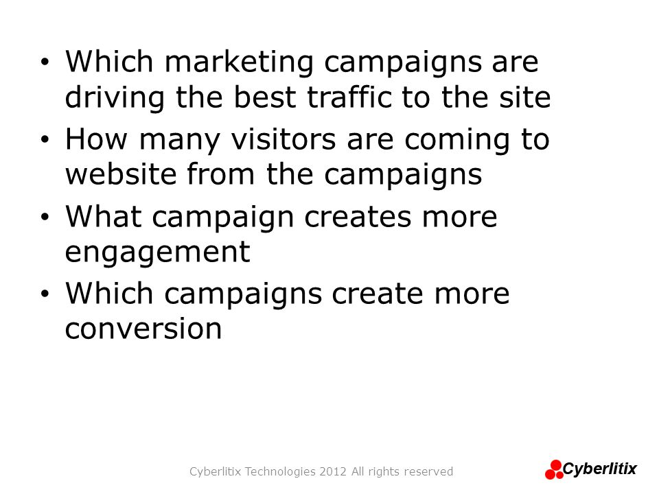 Which marketing campaigns are driving the best traffic to the site How many visitors are coming to website from the campaigns What campaign creates mo