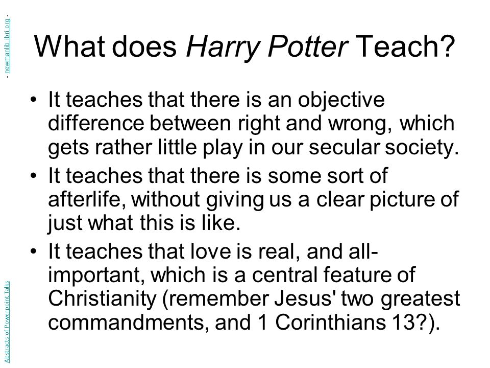 What does Harry Potter Teach.