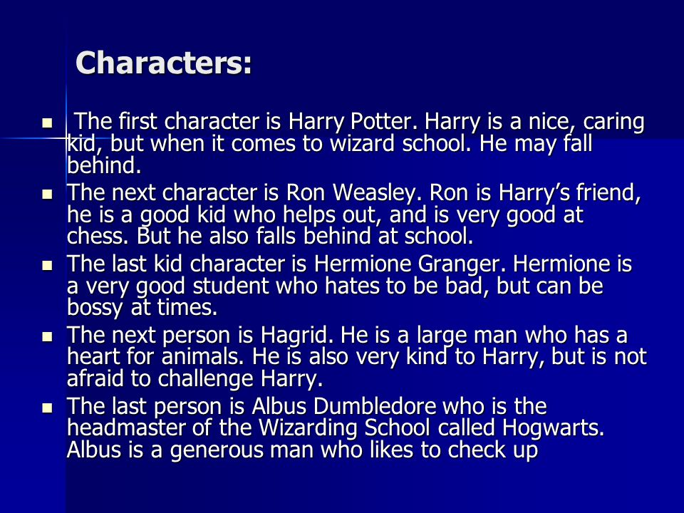 Characters: The first character is Harry Potter.