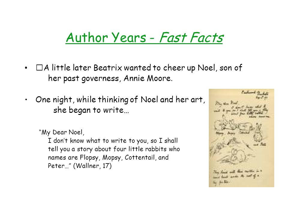 Author Years - Fast Facts A little later Beatrix wanted to cheer up Noel, son of her past governess, Annie Moore.