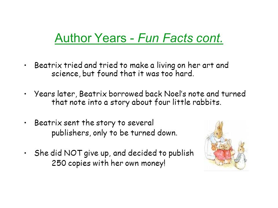Author Years - Fun Facts cont.
