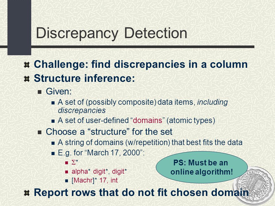 Discrepancy Detection Challenge: find discrepancies in a column Structure inference: Given: A set of (possibly composite) data items, including discre