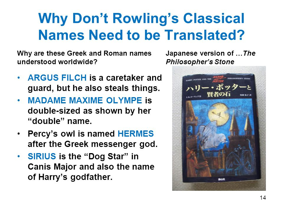 Why Don't Rowling's Classical Names Need to be Translated.