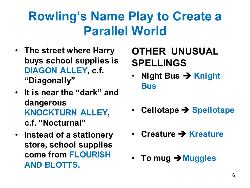 Rowling's Name Play to Create a Parallel World The street where Harry buys school supplies is DIAGON ALLEY, c.f.