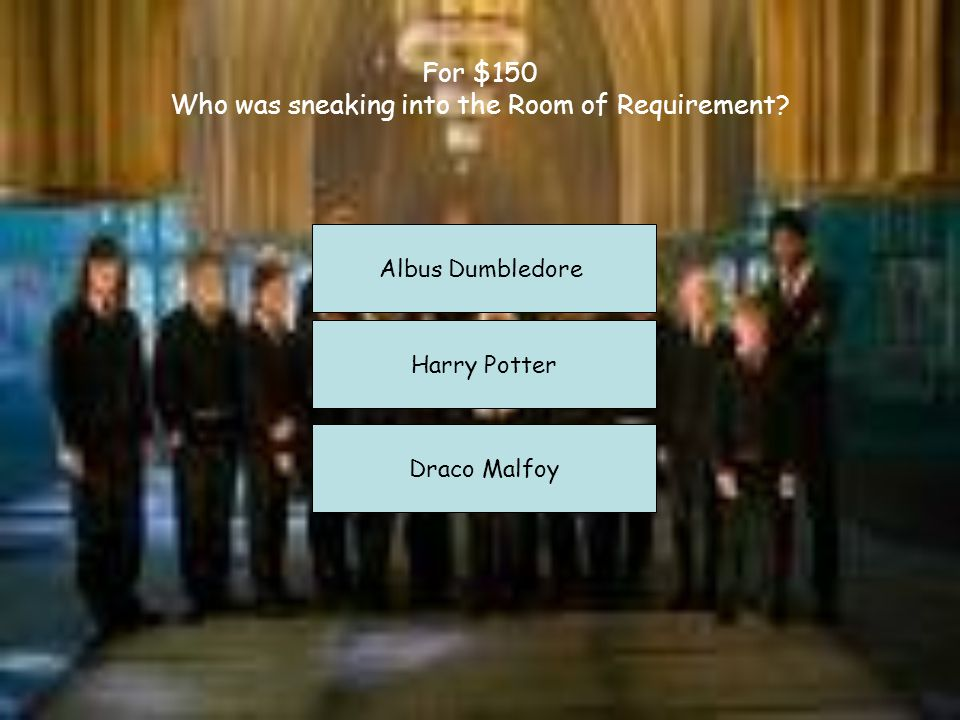 For $50: Who is a major character that died in this book? Albus Abforth Adriana Dumbledore Albus Percival Wulfric Brian Dumbledore Cedric Diggory