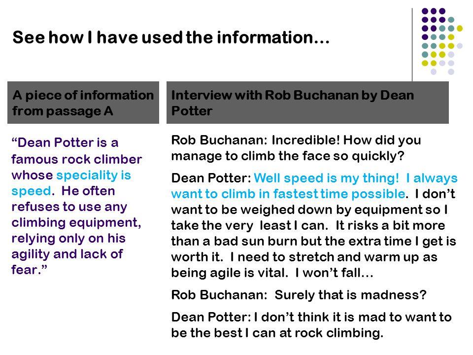 "See how I have used the information… ""Dean Potter is a famous rock climber whose speciality is speed. He often refuses to use any climbing equipment,"