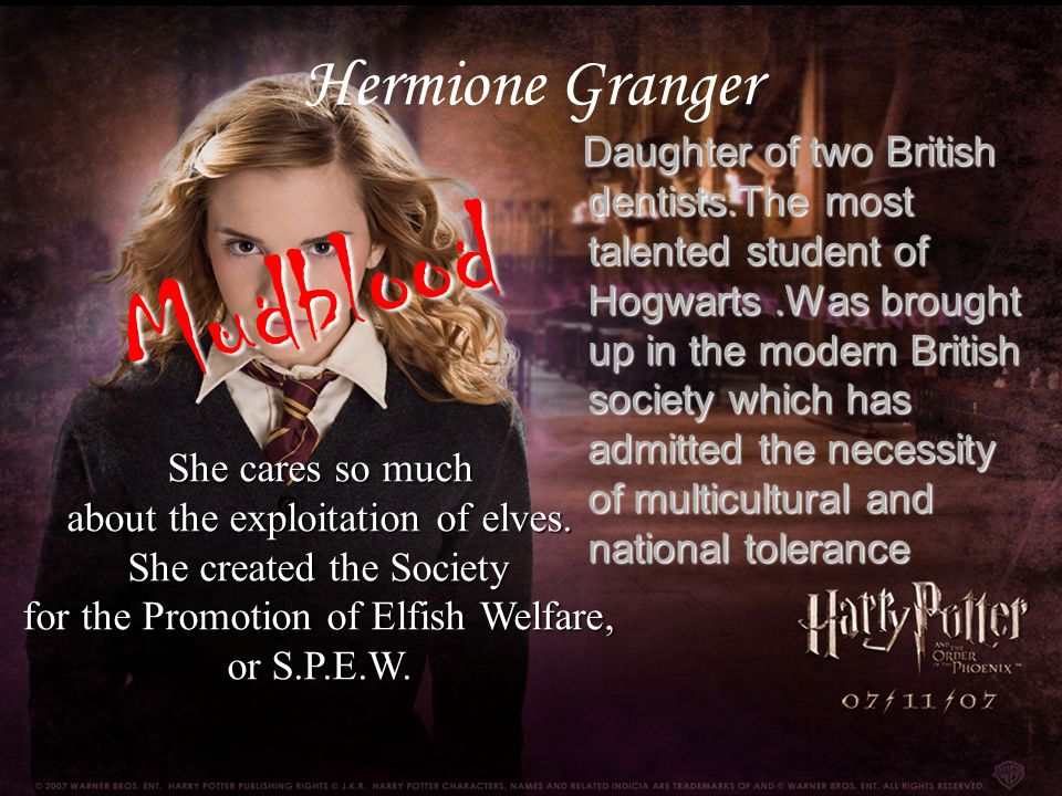 Daughter of two British dentists.The most talented student of Hogwarts.Was brought up in the modern British society which has admitted the necessity o