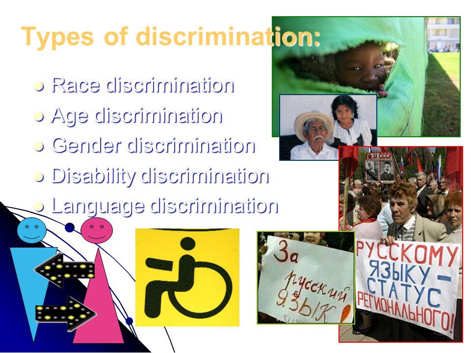 Race discrimination Race discrimination Age discrimination Age discrimination Gender discrimination Gender discrimination Disability discrimination Di