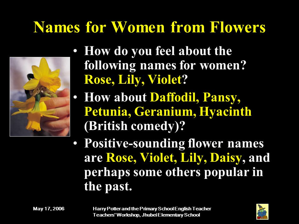 May 17, 2006Harry Potter and the Primary School English Teacher Teachers' Workshop, Jhubei Elementary School Names for Women from Flowers How do you feel about the following names for women.