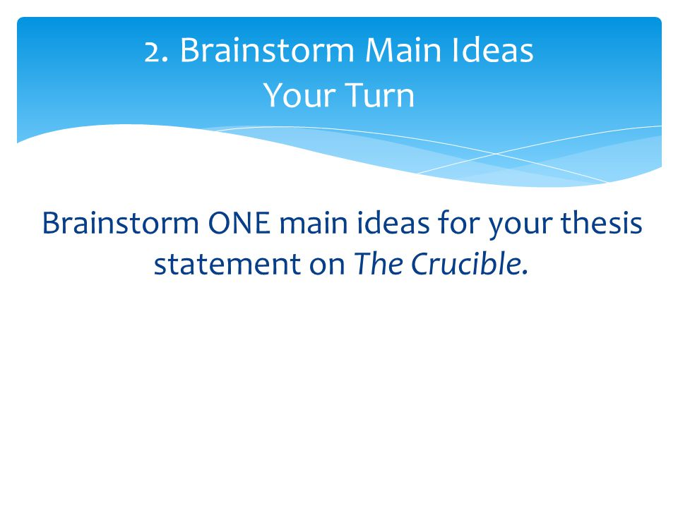thesis statements the crucible