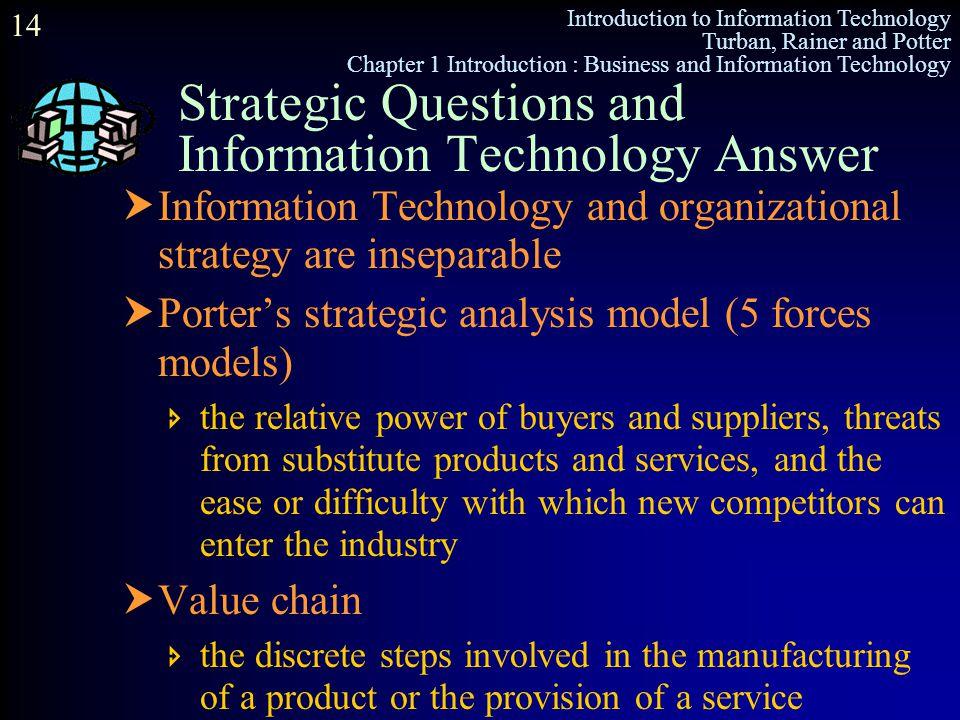 Introduction to Information Technology Turban, Rainer and Potter Chapter 1 Introduction : Business and Information Technology 14 Strategic Questions a