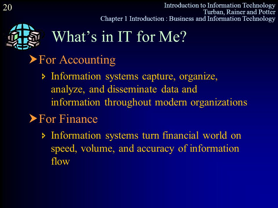 Introduction to Information Technology Turban, Rainer and Potter Chapter 1 Introduction : Business and Information Technology 20  For Accounting  In
