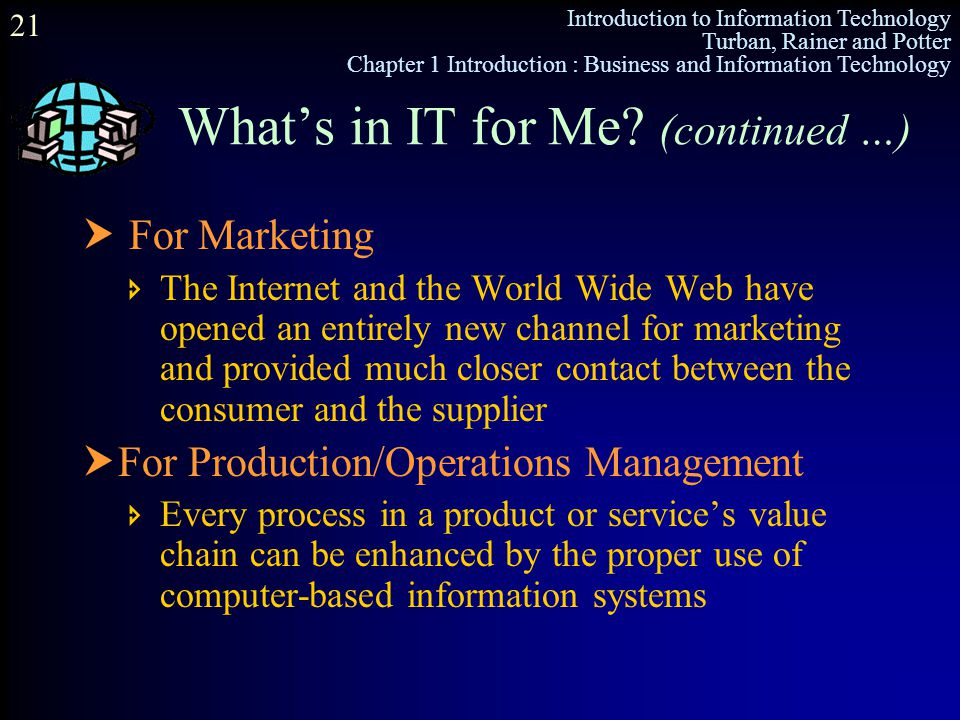 Introduction to Information Technology Turban, Rainer and Potter Chapter 1 Introduction : Business and Information Technology 21 What's in IT for Me?