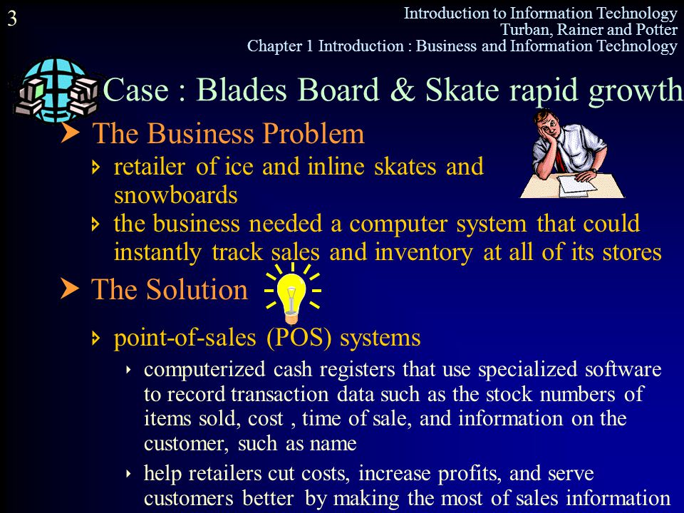 Introduction to Information Technology Turban, Rainer and Potter Chapter 1 Introduction : Business and Information Technology 3 Case : Blades Board &