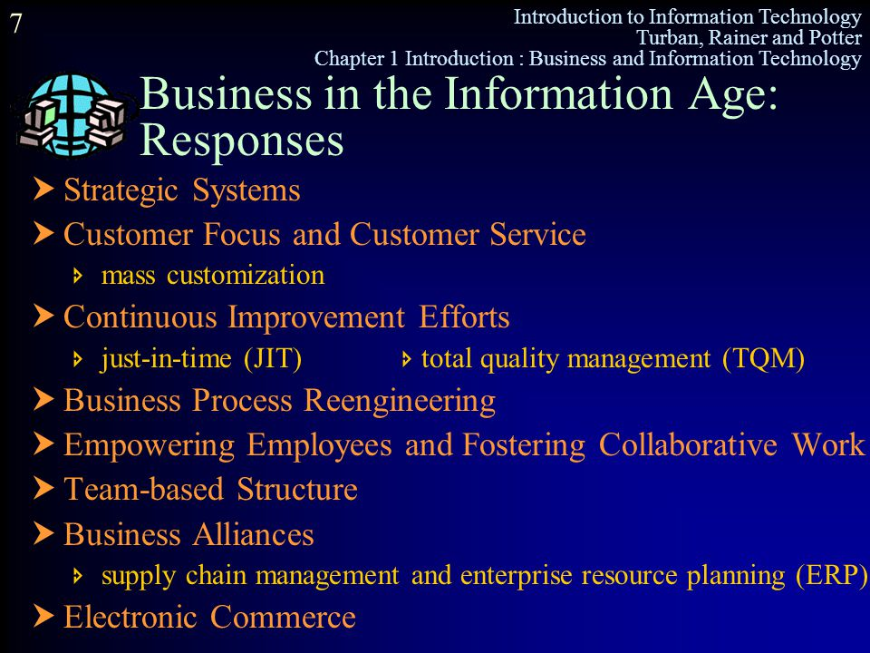 Introduction to Information Technology Turban, Rainer and Potter Chapter 1 Introduction : Business and Information Technology 7 Business in the Inform