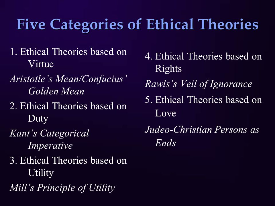 Five Categories of Ethical Theories 1.