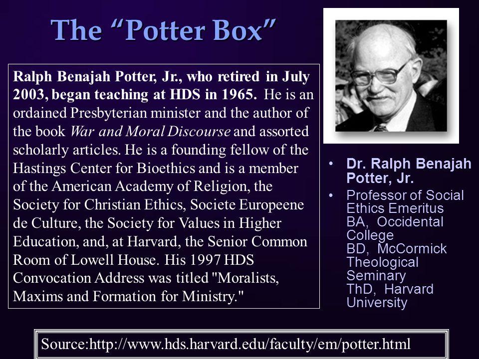 "The ""Potter Box"" Dr. Ralph Benajah Potter, Jr. Professor of Social Ethics Emeritus BA, Occidental College BD, McCormick Theological Seminary ThD, Harv"