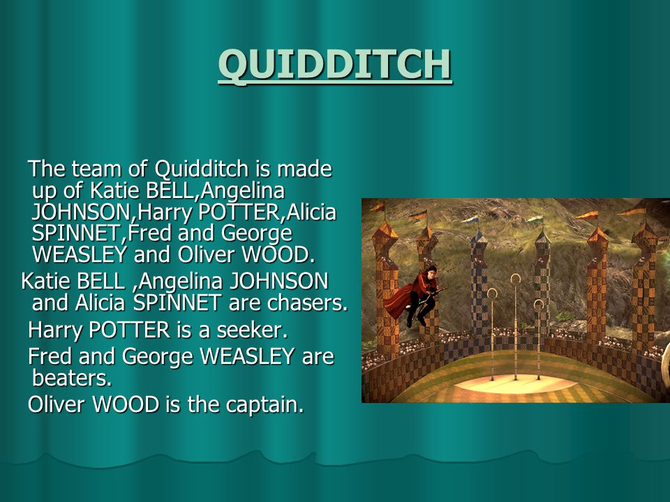 QUIDDITCH The team of Quidditch is made up of Katie BELL,Angelina JOHNSON,Harry POTTER,Alicia SPINNET,Fred and George WEASLEY and Oliver WOOD.