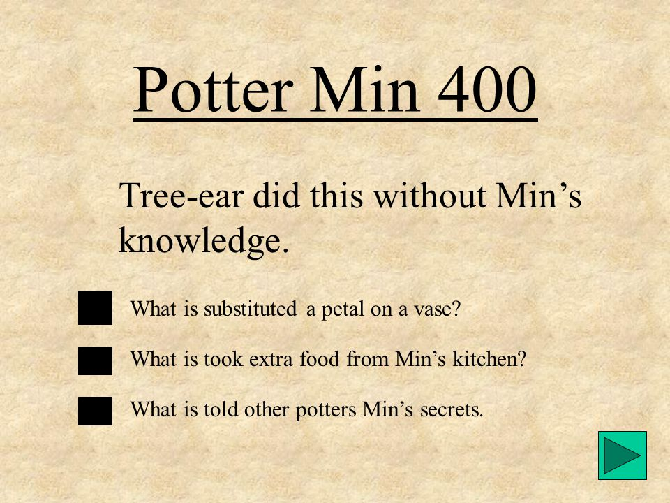 Potter Min 300 The meaning of the name Ajima, which Min's wife asked Tree-ear to call her. What is Sister? What is Grandma? What is Auntie?