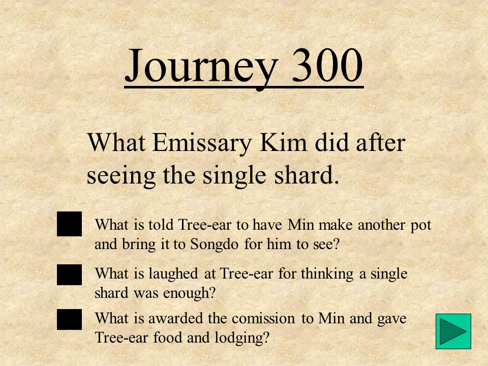 Journey 200 The reason Tree-ear was worried about leaving Crane-man while he traveled to Songdo. What is Tree-ear was afraid Crane-man would die? What