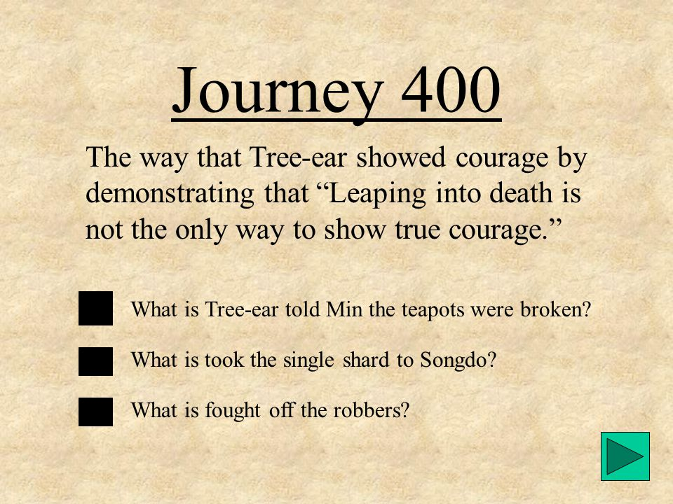 Journey 300 What Emissary Kim did after seeing the single shard. What is told Tree-ear to have Min make another pot and bring it to Songdo for him to