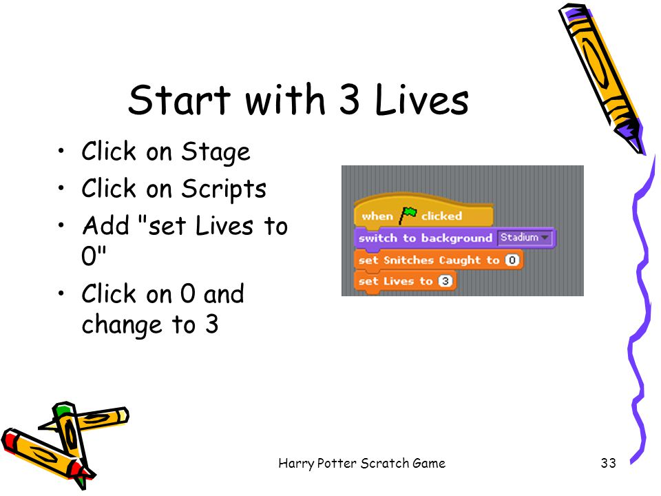 Harry Potter Scratch Game33 Start with 3 Lives Click on Stage Click on Scripts Add