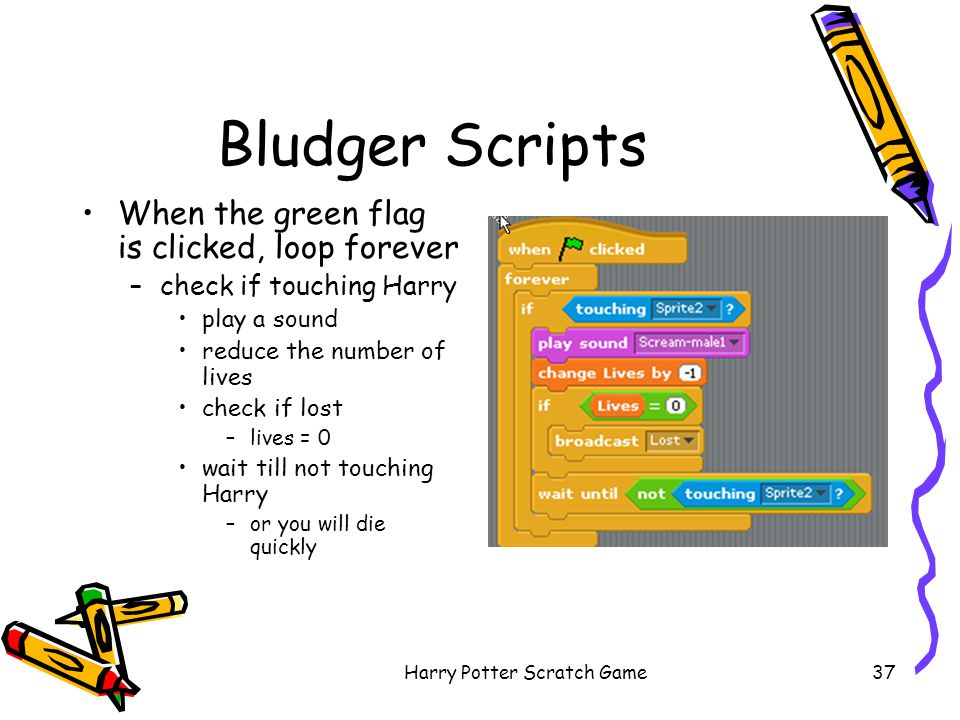 Harry Potter Scratch Game37 Bludger Scripts When the green flag is clicked, loop forever –check if touching Harry play a sound reduce the number of li
