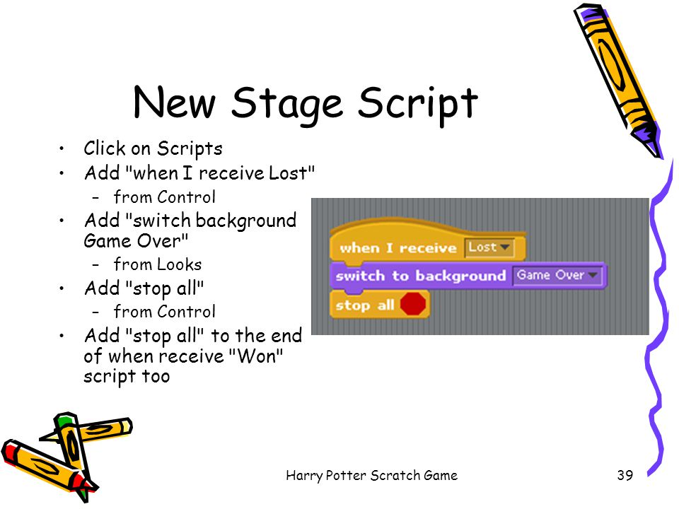 Harry Potter Scratch Game39 New Stage Script Click on Scripts Add