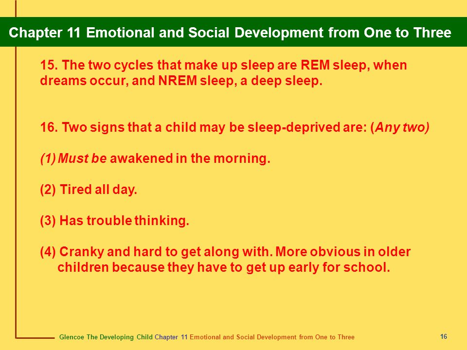 Glencoe The Developing Child Chapter 11 Emotional and Social Development from One to Three Chapter 11 Emotional and Social Development from One to Three 17 Section 11.2 Social Development from One to Three Children learn to get along with others through a process called socialization.
