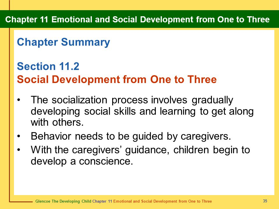 Glencoe The Developing Child Chapter 11 Emotional and Social Development from One to Three Chapter 11 Emotional and Social Development from One to Three 36 Review Do you remember the vocabulary terms from this chapter.