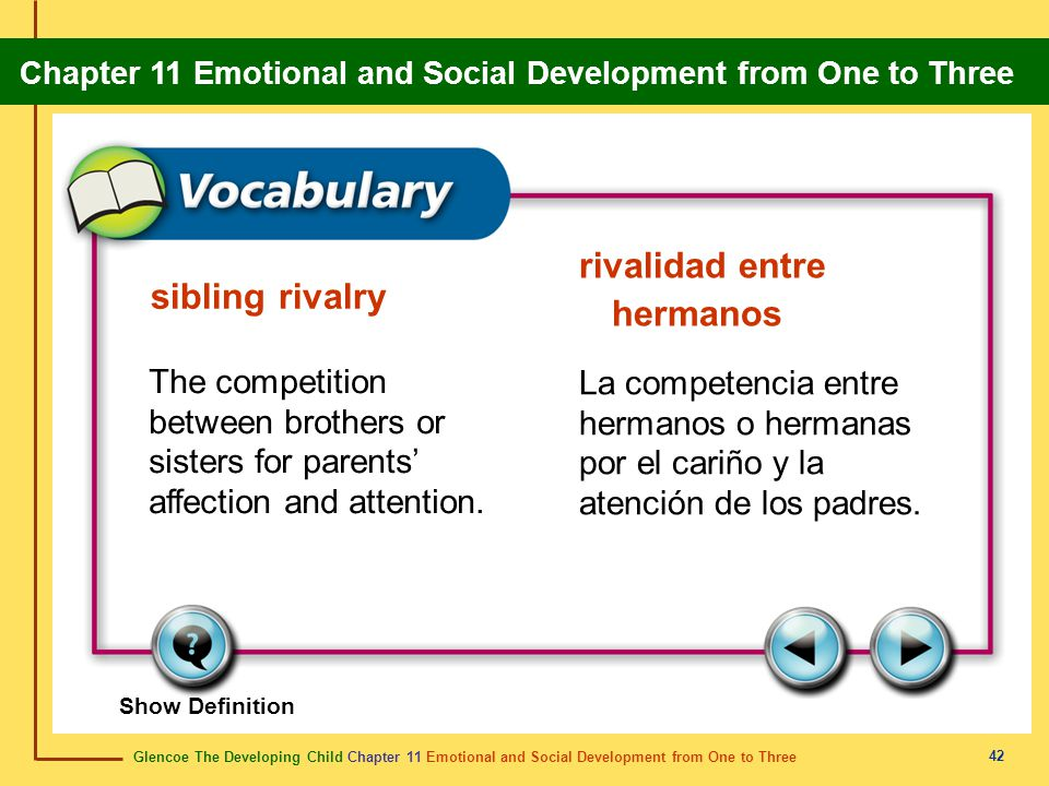 Glencoe The Developing Child Chapter 11 Emotional and Social Development from One to Three Chapter 11 Emotional and Social Development from One to Three 43 empathy compasión The ability to understand how another person feels.