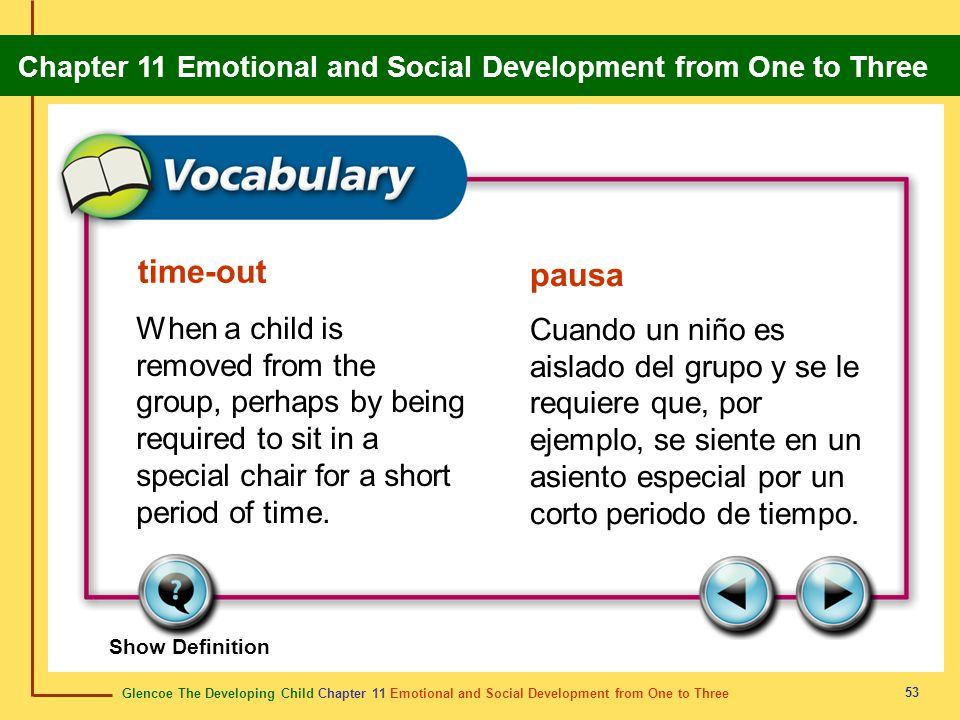 Glencoe The Developing Child Chapter 11 Emotional and Social Development from One to Three Chapter 11 Emotional and Social Development from One to Three 54 perceptive perceptivo Observant; quick to understand things.