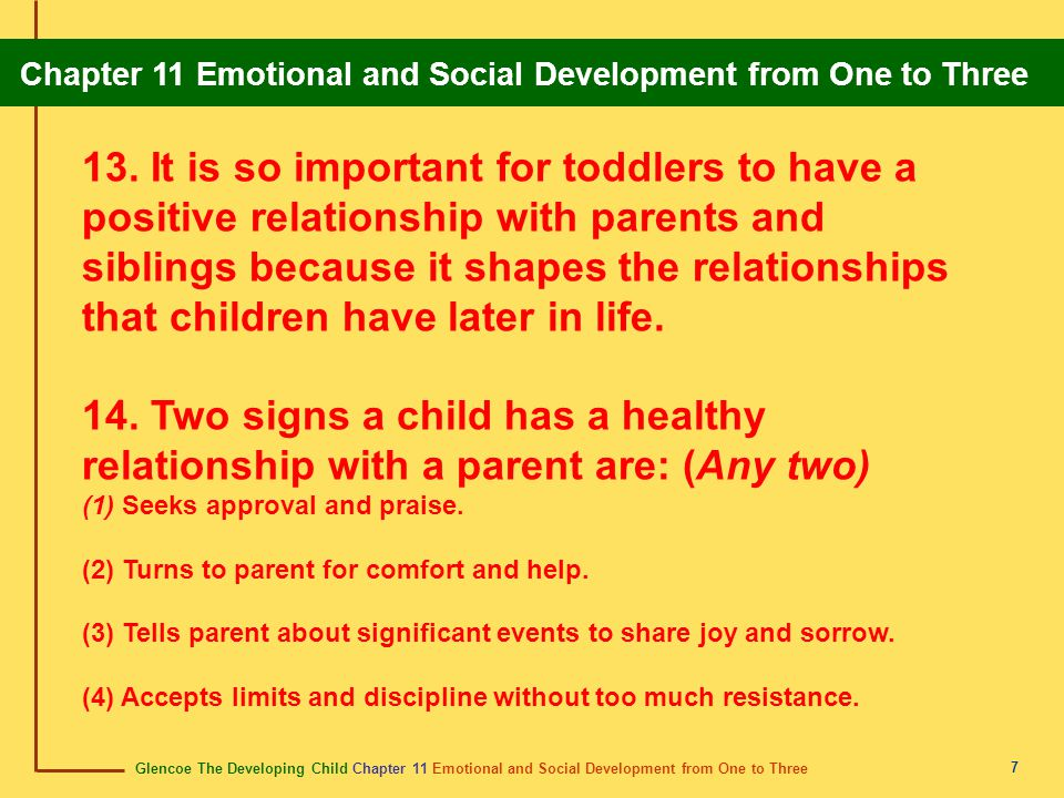 Glencoe The Developing Child Chapter 11 Emotional and Social Development from One to Three Chapter 11 Emotional and Social Development from One to Three 8 1.