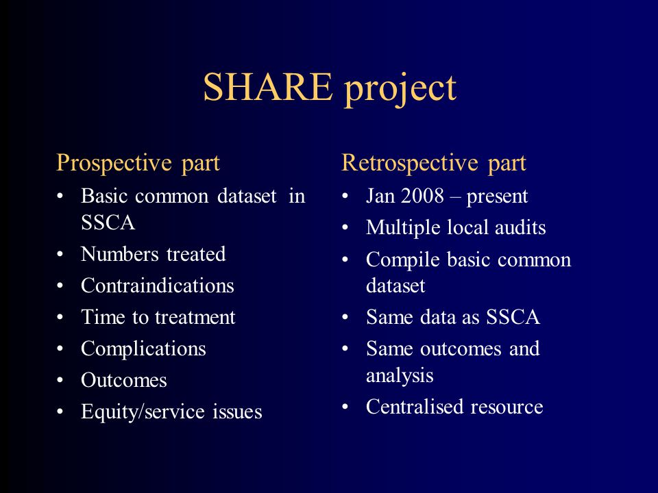 SHARE project Prospective part Basic common dataset in SSCA Numbers treated Contraindications Time to treatment Complications Outcomes Equity/service issues Retrospective part Jan 2008 – present Multiple local audits Compile basic common dataset Same data as SSCA Same outcomes and analysis Centralised resource