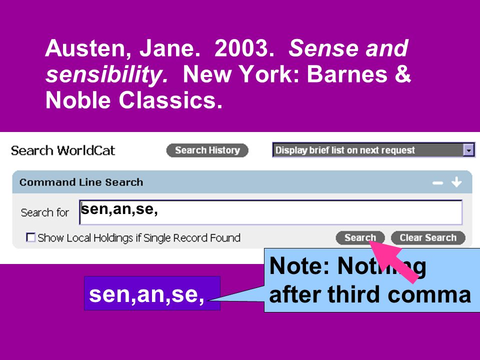 Austen, Jane. 2003. Sense and sensibility. New York: Barnes & Noble Classics.