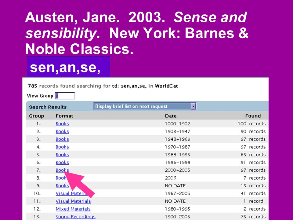 Austen, Jane. 2003. Sense and sensibility. New York: Barnes & Noble Classics. sen,an,se,