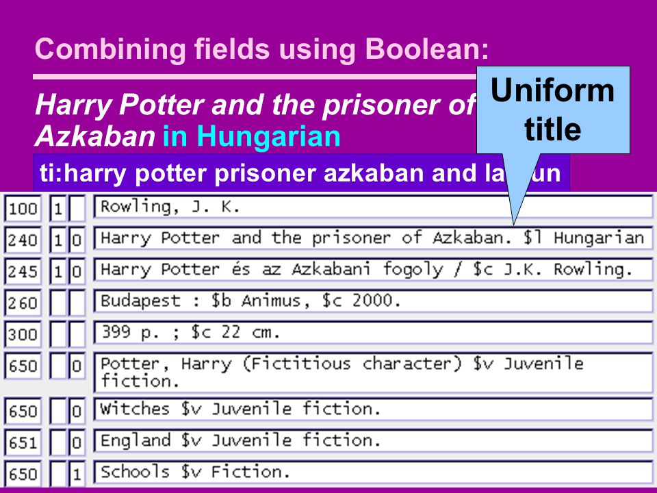 Harry Potter and the prisoner of Azkaban in Hungarian ti:harry potter prisoner azkaban and la:hun Combining fields using Boolean: Uniform title