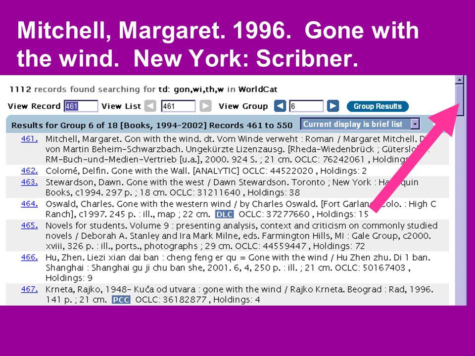 Mitchell, Margaret.c1996. Gone with the wind. New York: Scribner.
